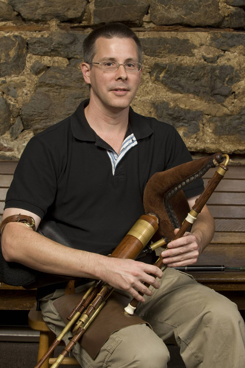 Terry Hartzell with uilleann pipe